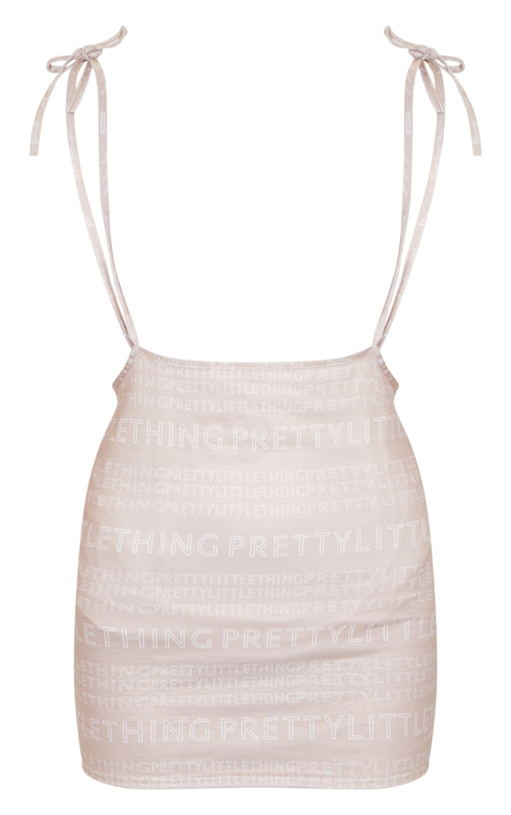 PRETTYLITTLETHING Nude Print Tie Shoulder Jersey Pinafore Dress 4