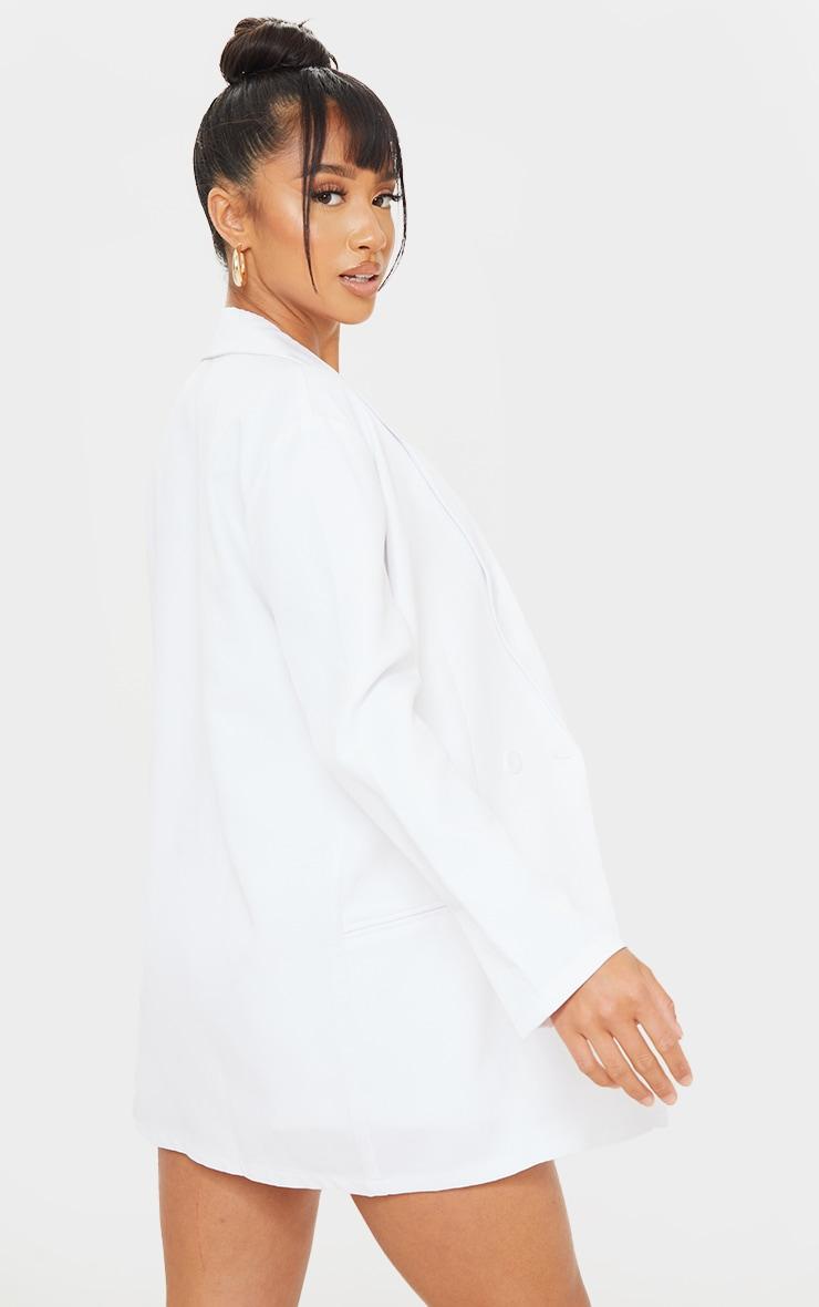 Petite White Oversized Long Sleeve Suit Blazer 2