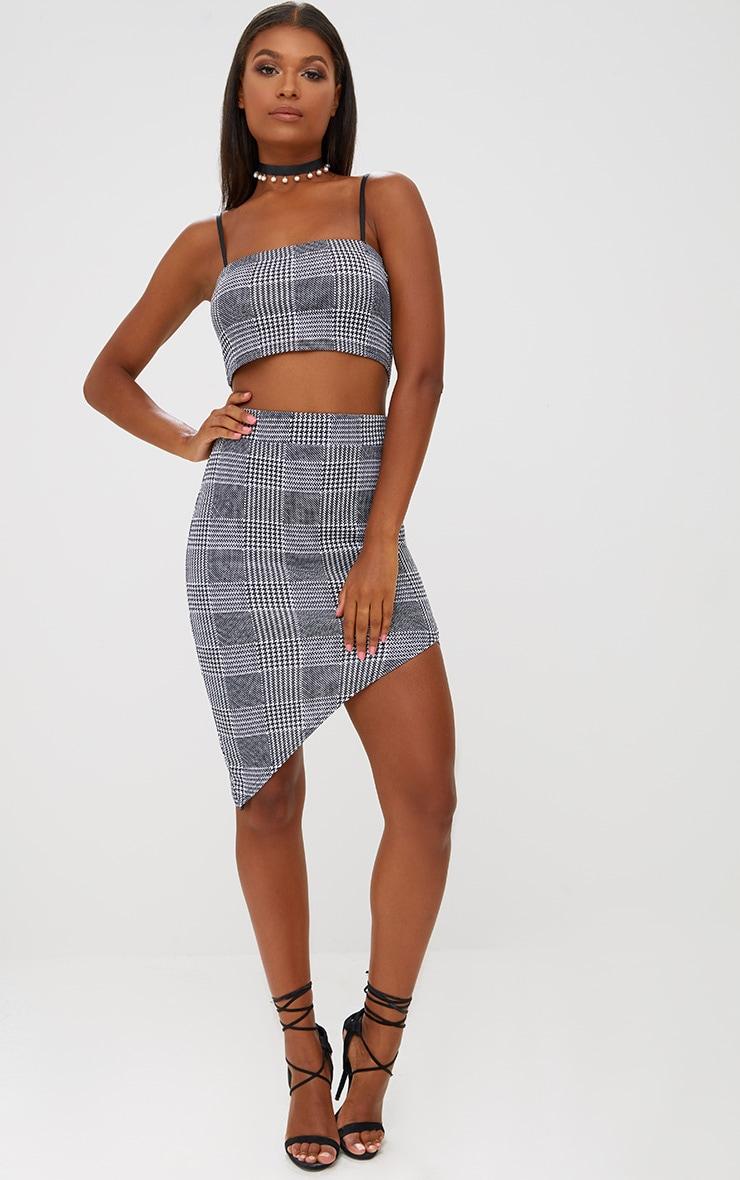 Black Check Asymmetric Hem Midi Skirt 5