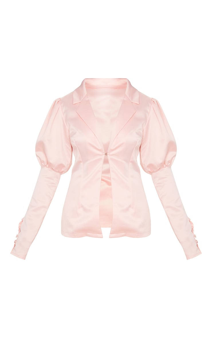 Petite Blush Satin Puff Sleeve Blazer 3