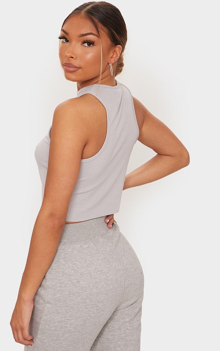 Basic Grey  Soft Rib Cropped Vest 2