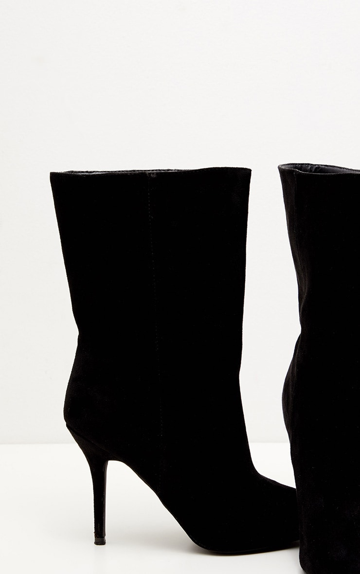 Black Mid Heel Ankle Boot 4