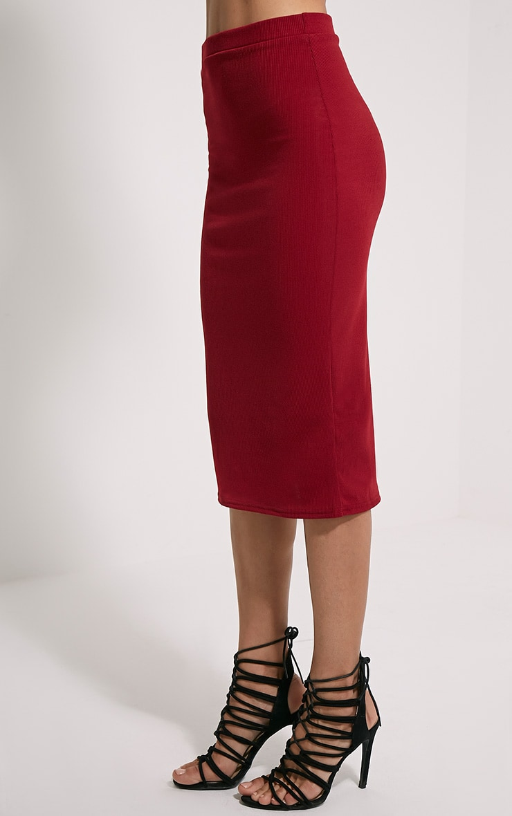 Basic Burgundy Ribbed Midi Skirt 2