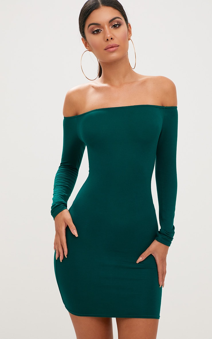 aa27cedd35a Basic Emerald Green Bardot Bodycon Dress image 1