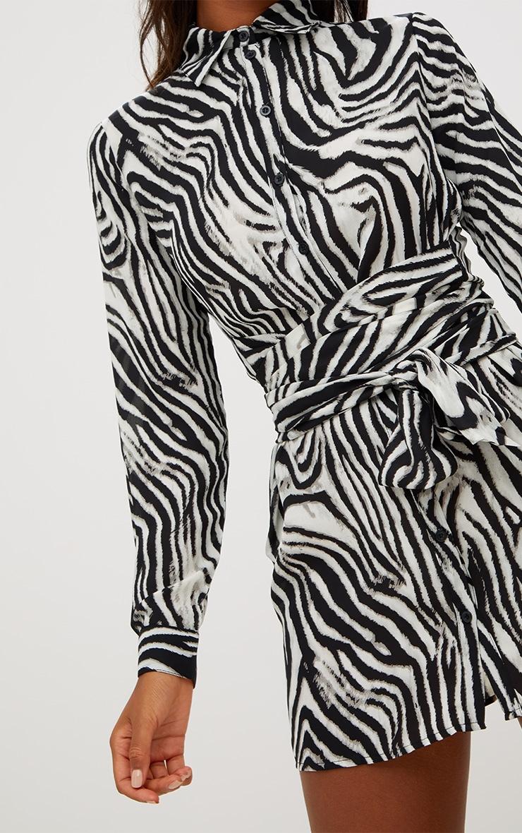 Black Zebra Tie Waist Shirt Dress 5