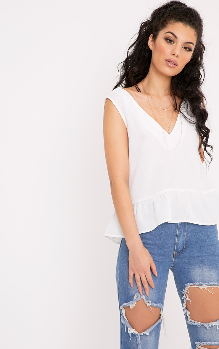 Angelina Cream Woven V Back Plunge Frill Blouse 1