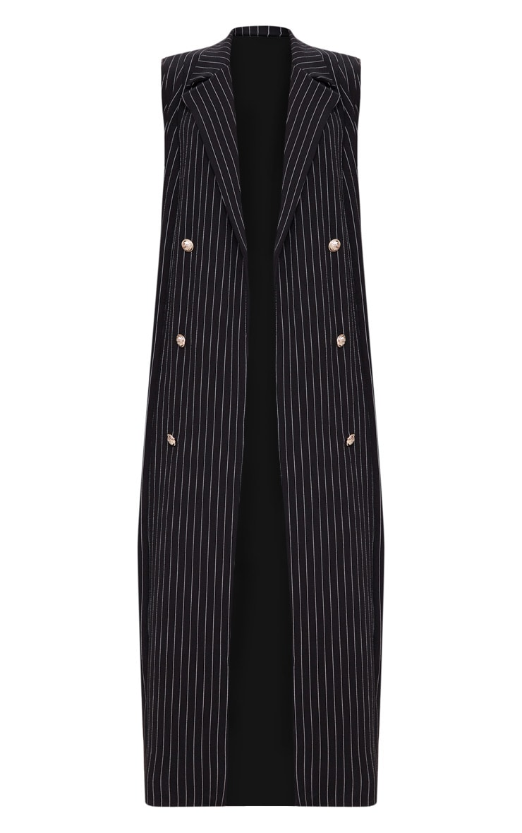 Pinstripe Sleeveless Military Button Duster Jacket 3