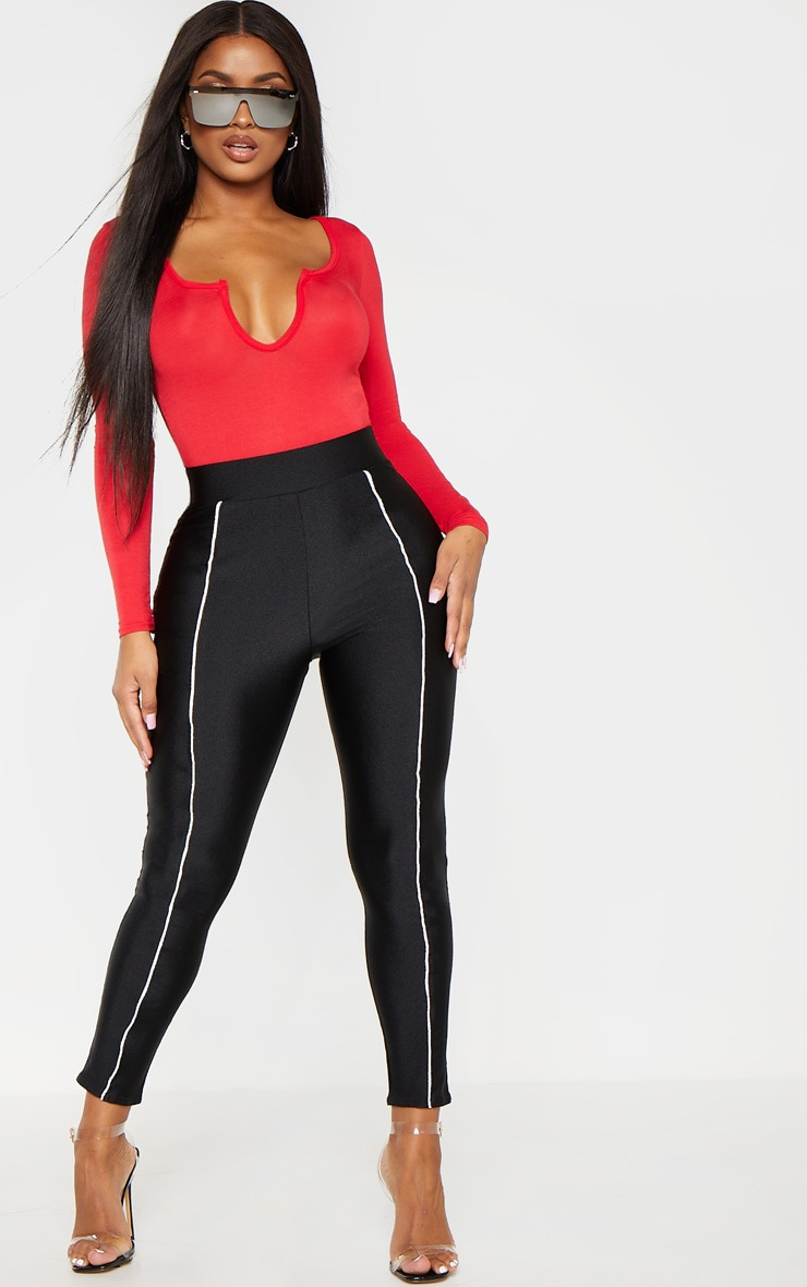 Shape Red Jersey V Neck Long Sleeve Bodysuit 4