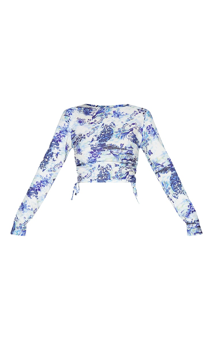 White Print Jersey Ruched Side Long Sleeve Crop Top 5