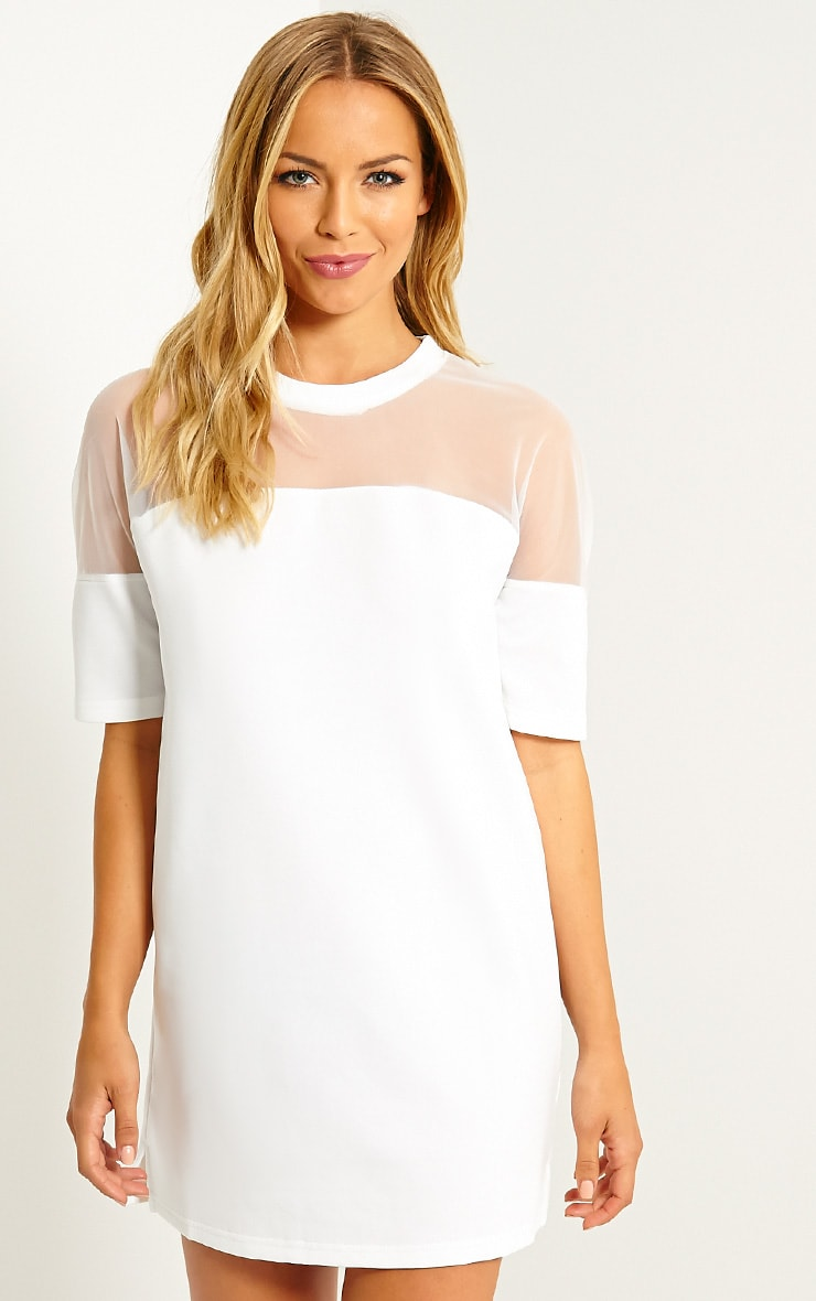 Camille White Mesh Top Shift Dress 1