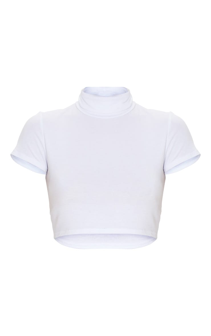 Basic Jersey White High Neck Crop Top 3