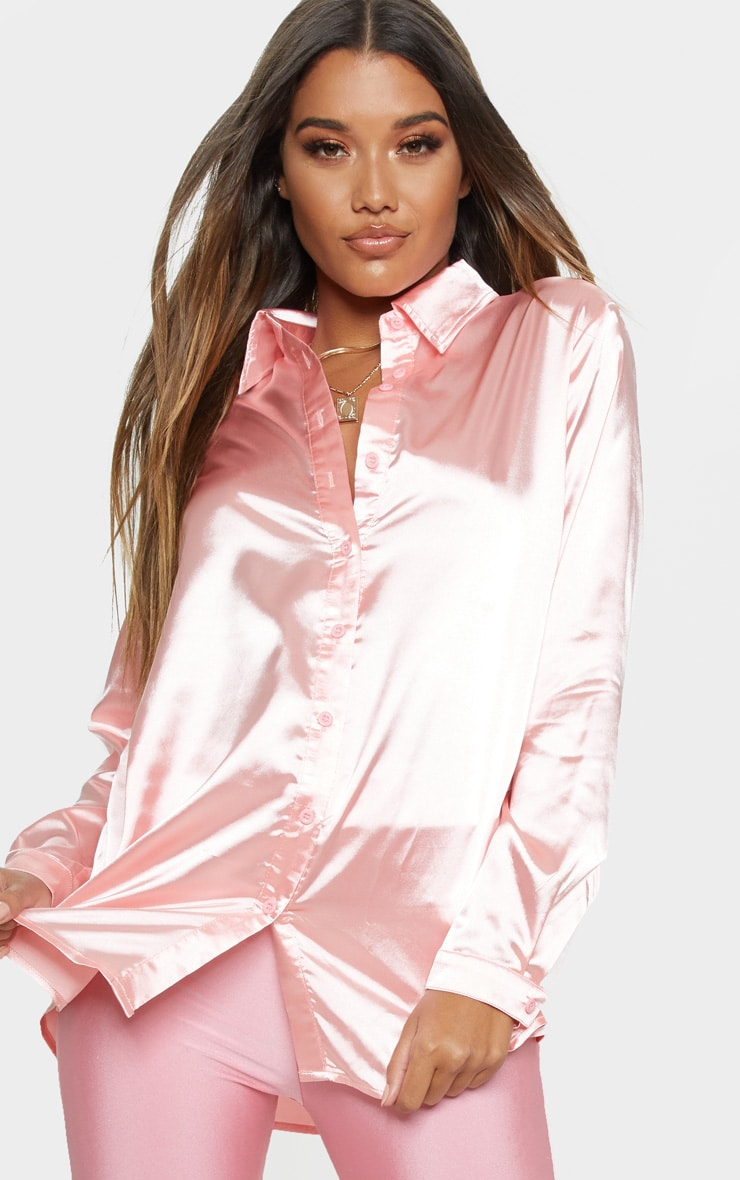Pink Oversized Satin Shirt 5