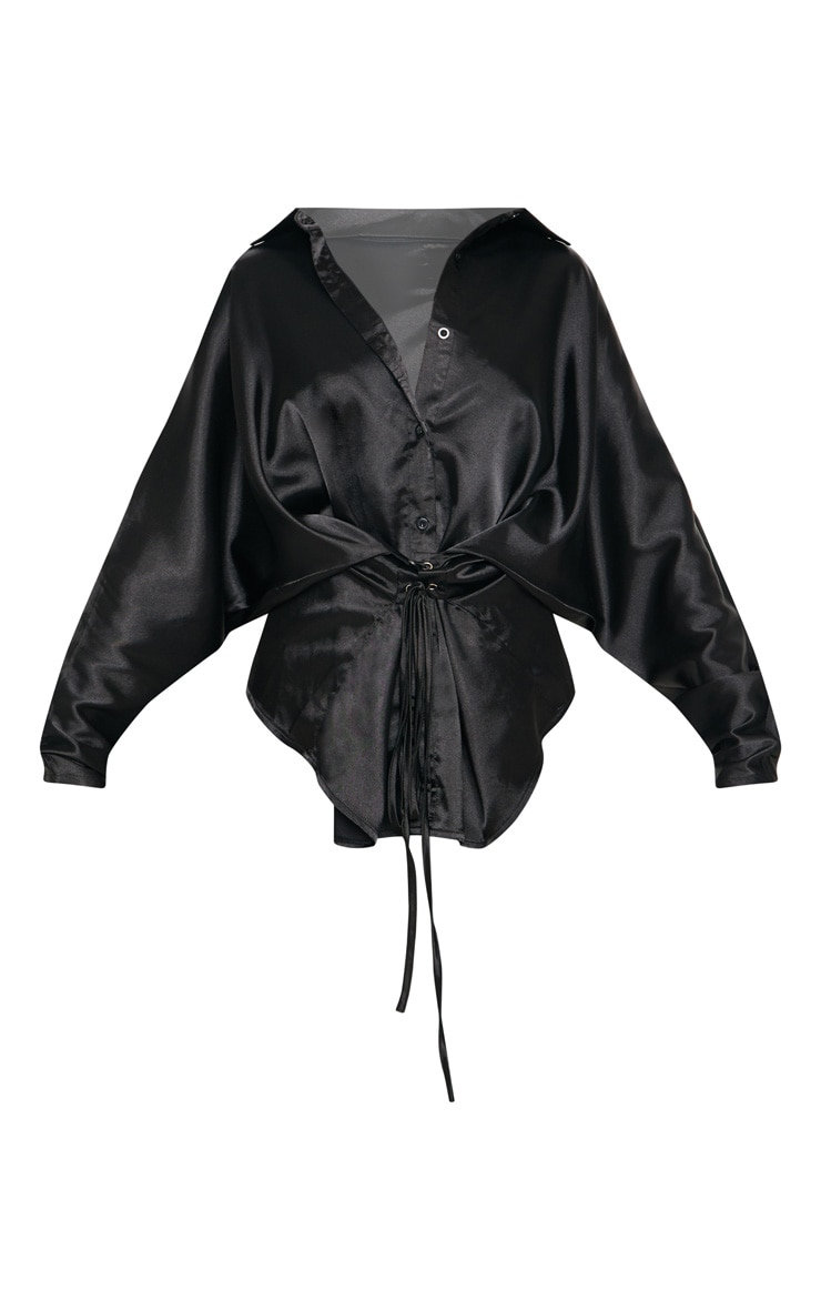 Black Corset Detail Satin Shirt 3