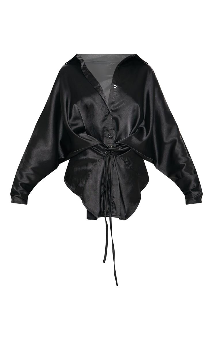 Black Corset Detail Satin Shirt 3