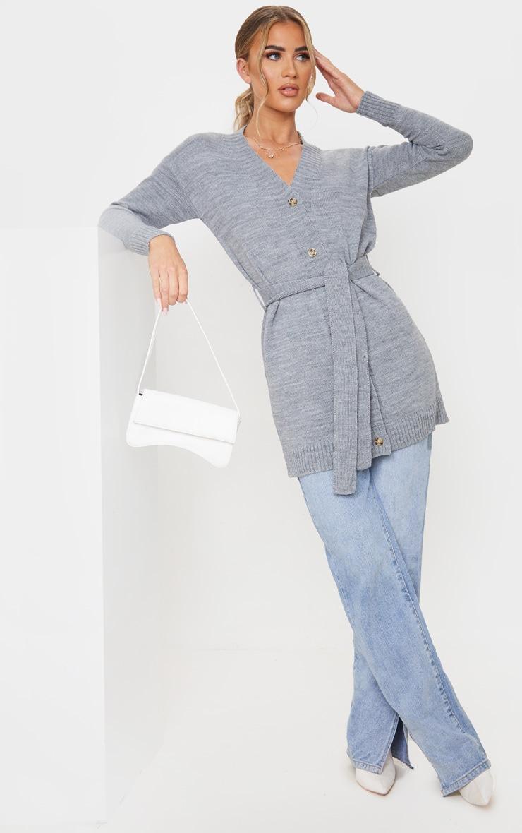 Grey Belted Longline Cardigan 1