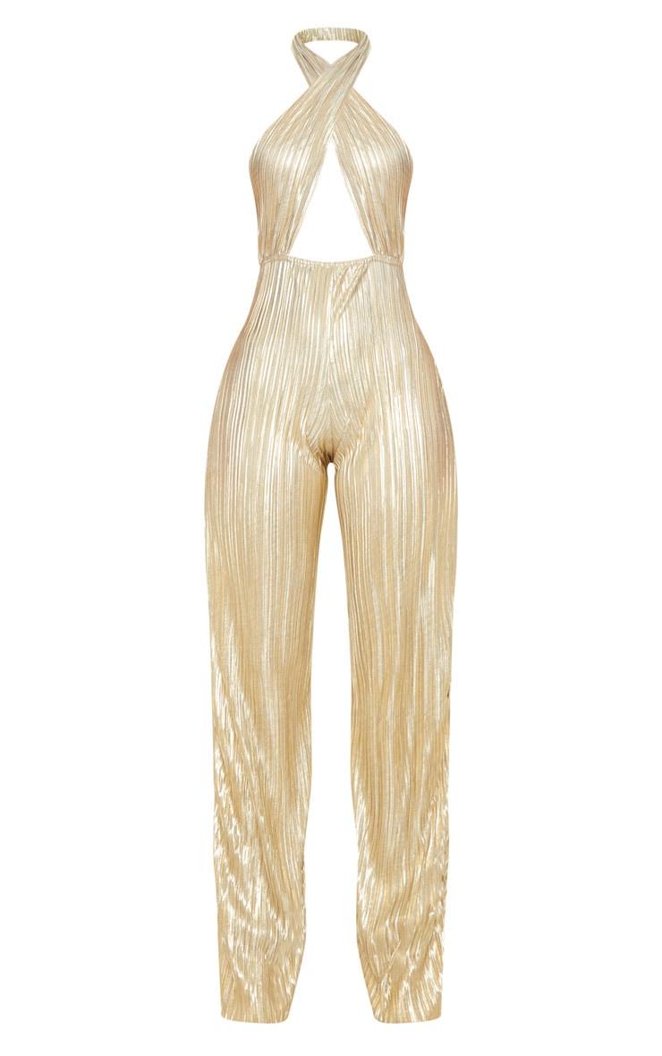Gold Plisse Halterneck Wide Leg Jumpsuit 4