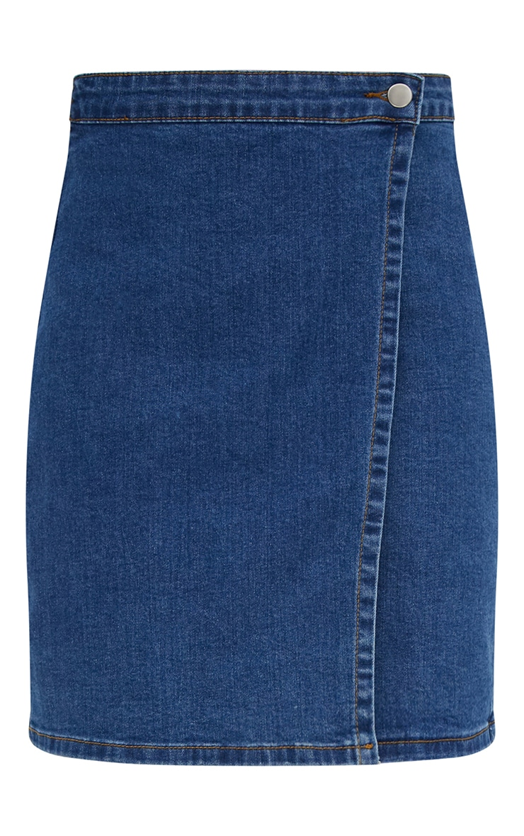 Mid Wash Denim Wrap Mini Skirt 3
