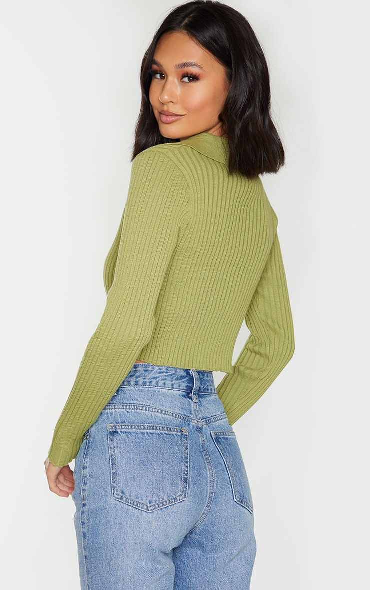 Olive Double Zipped Knitted Crop Top 2