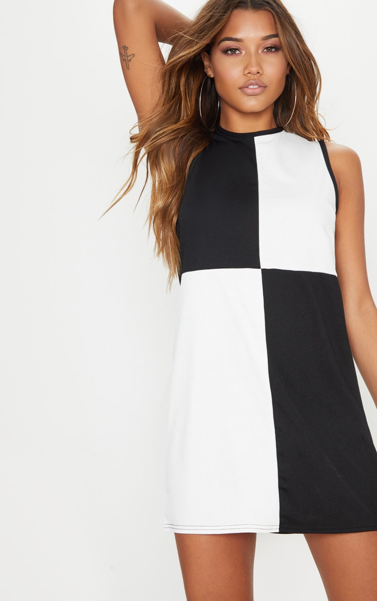 Monochrome Colour Block Shift Dress 1