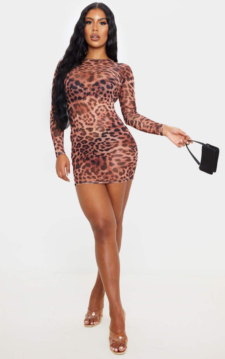Brown Leopard Print Mesh Long Sleeve Bodycon Dress 1