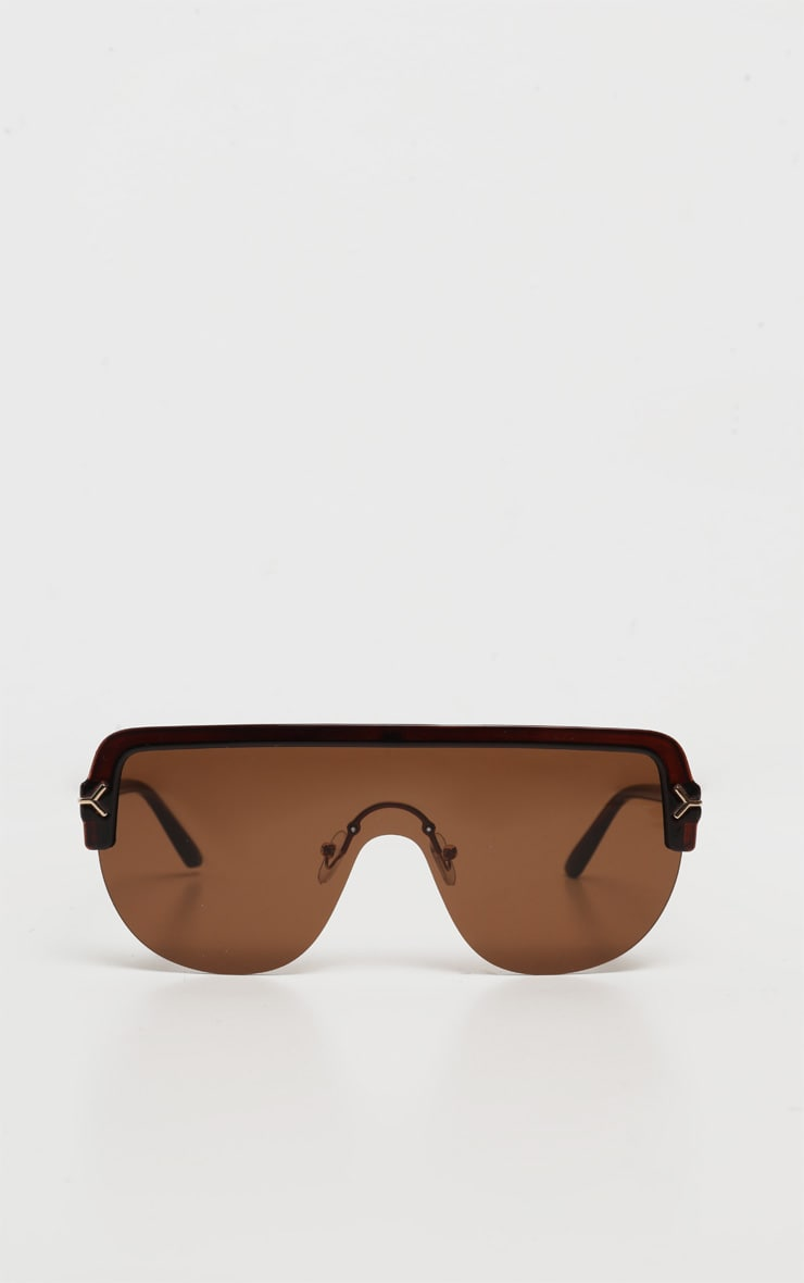 Brown Tinted Lens Tortoiseshell Frame Oversized Sunglasses 2