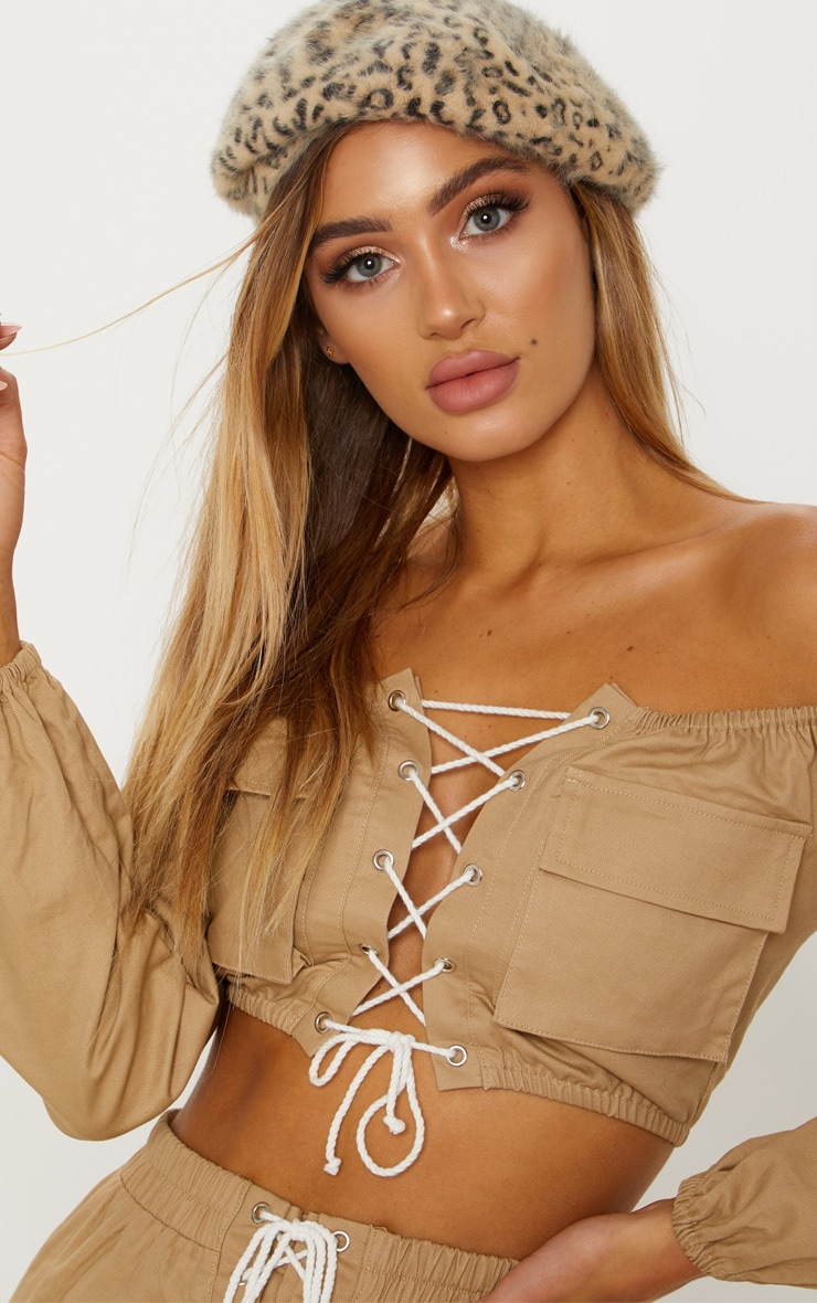 Stone Cargo Lace Up Crop Top 6