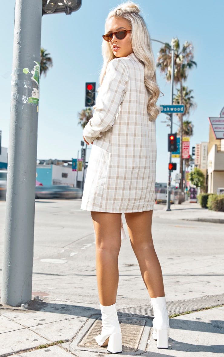 Beige Check Blazer Dress 2