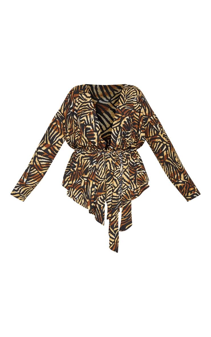 Plus Brown Tiger Print Satin Tie Waist Blouse 3
