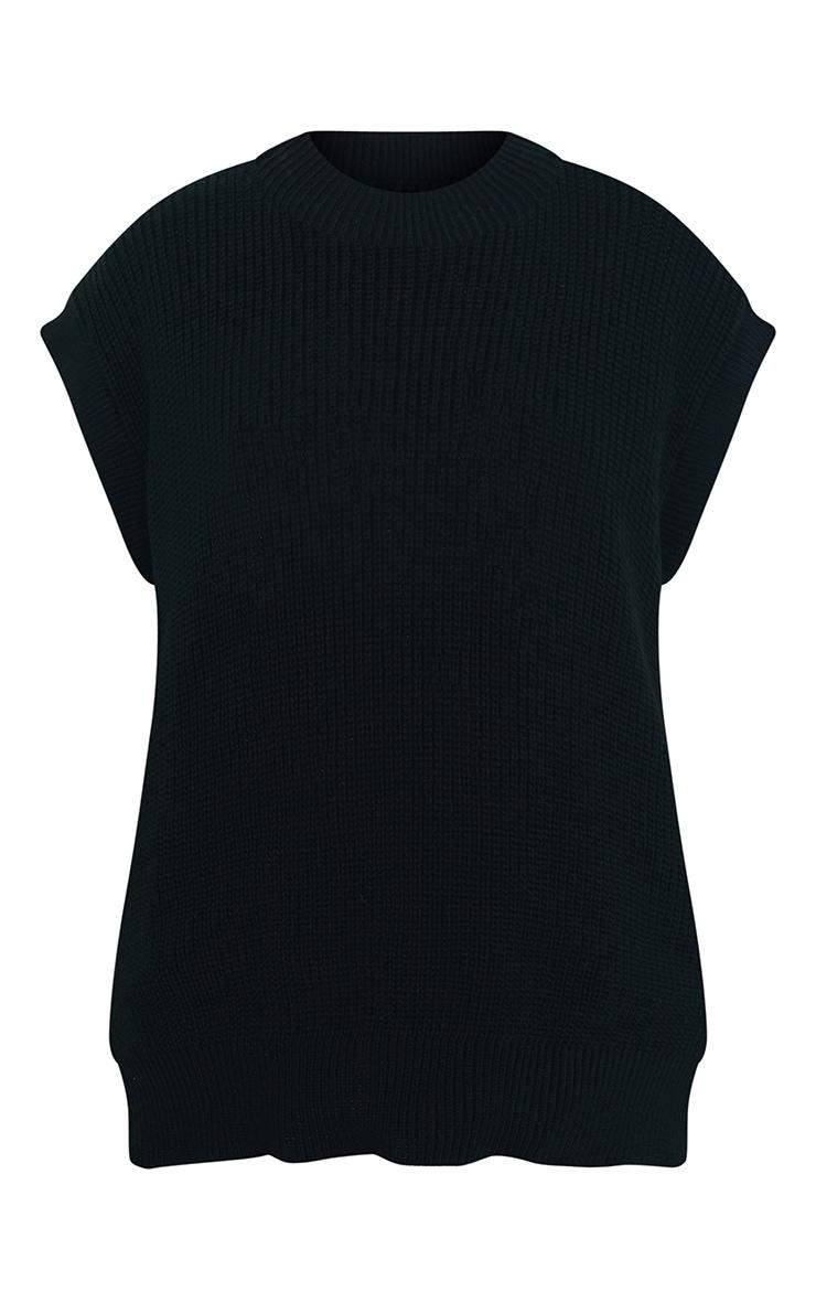 Black Round Neck Side Split Knitted Vest 5