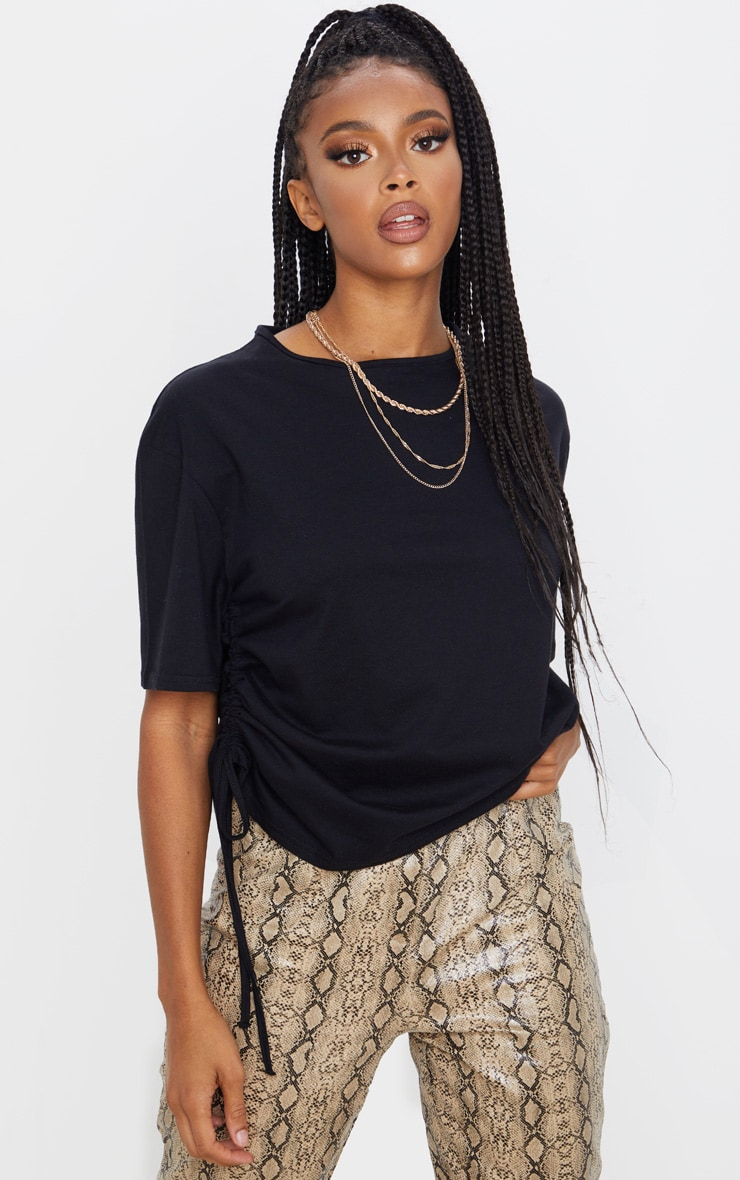 Black Ruched Side T Shirt 5