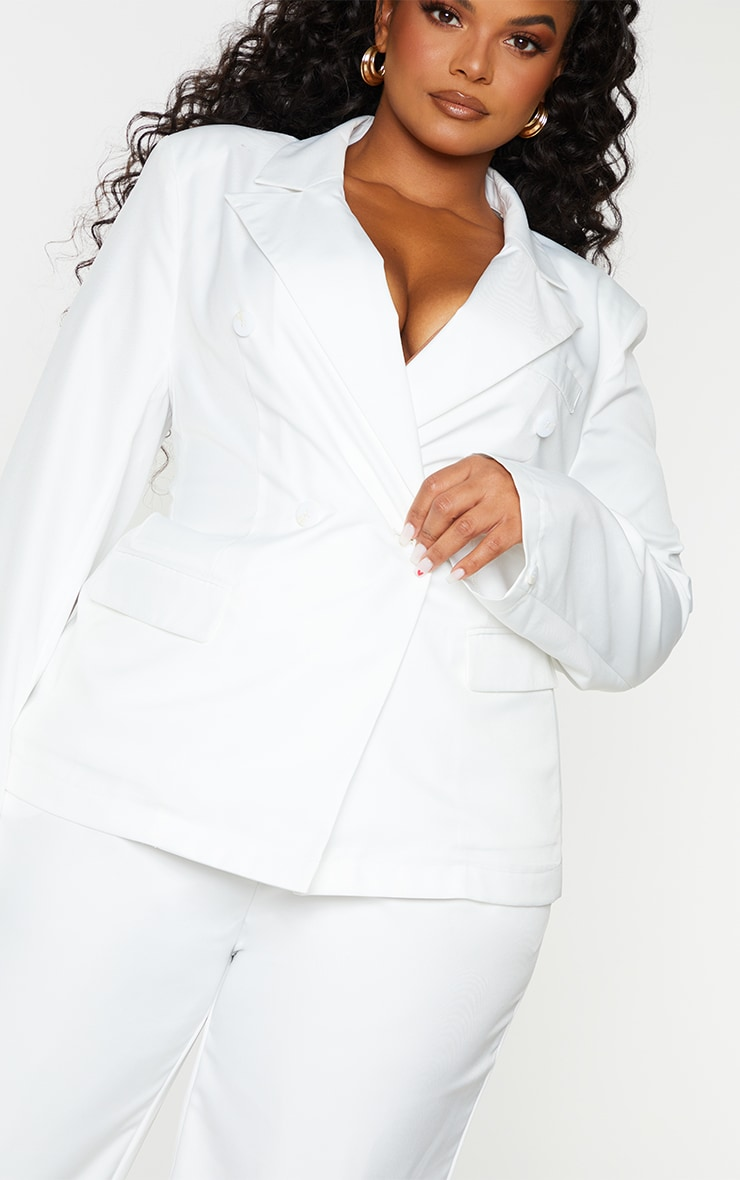 Plus White Woven Double Breasted Shoulder Pad Blazer 4