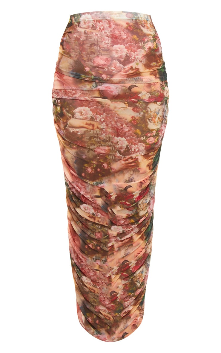 Camel Renaissance Mesh Ruched Midaxi Skirt  3
