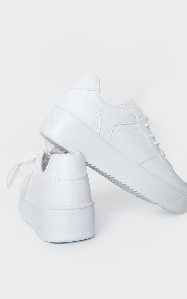 White Platform Sole Chunky Lace Sneakers 3