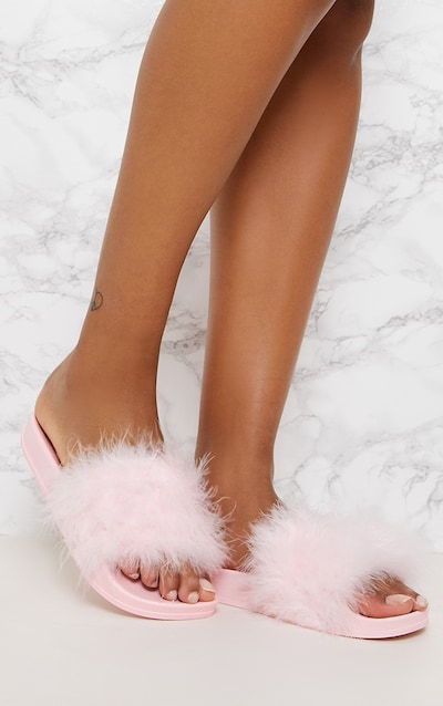 Pink Feather Sliders