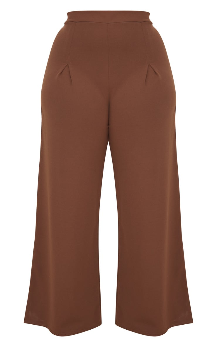 Taupe Plus Pleat Front Wide Leg Trousers  3