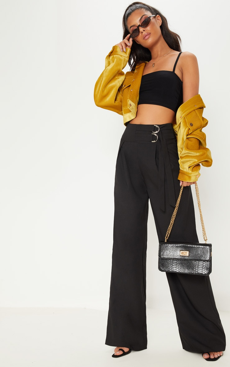 Black D Ring Buckle Wide Leg Trouser