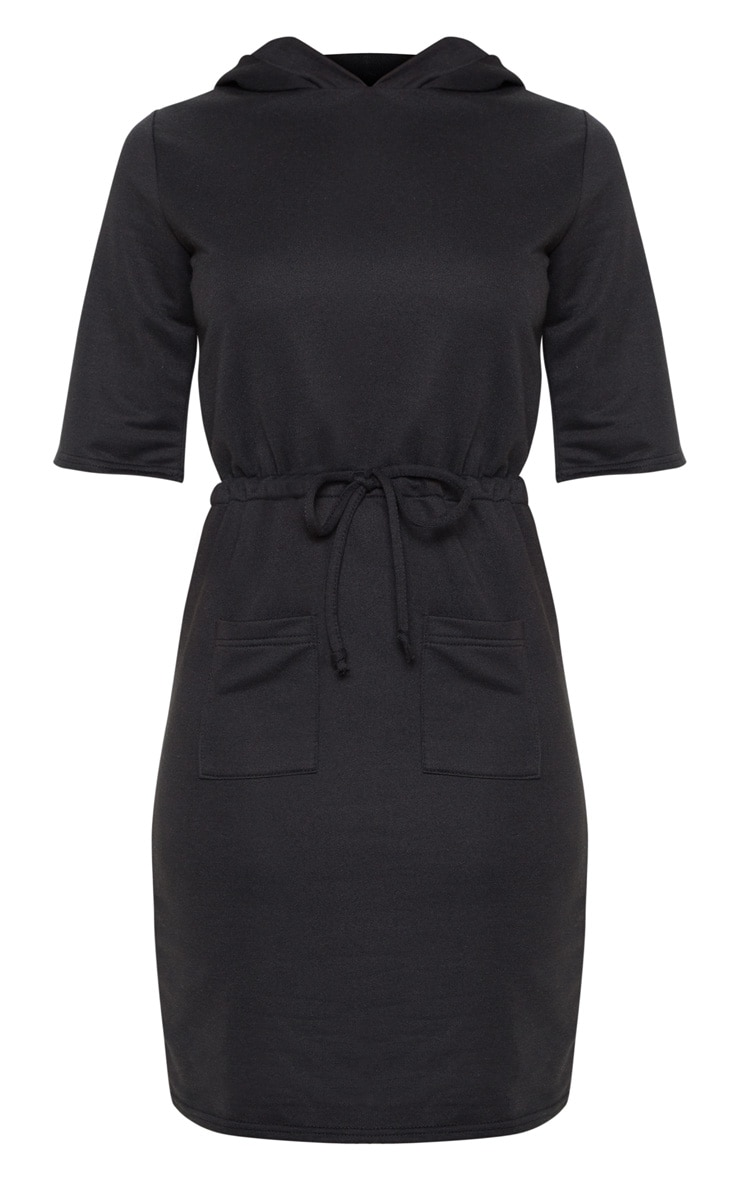 Black Short Sleeve Tie Waist Jumper Dress 3