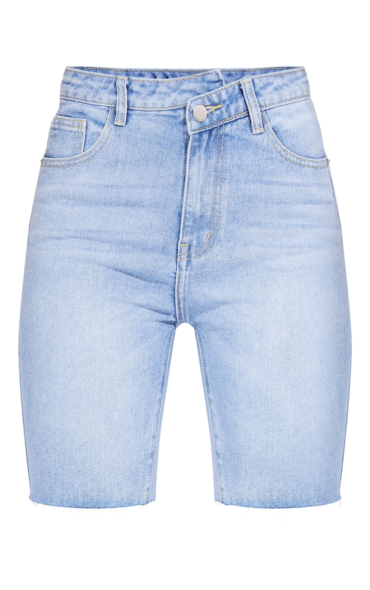 Light Blue Wash Asymmetric Waist Longline Denim Shorts 6