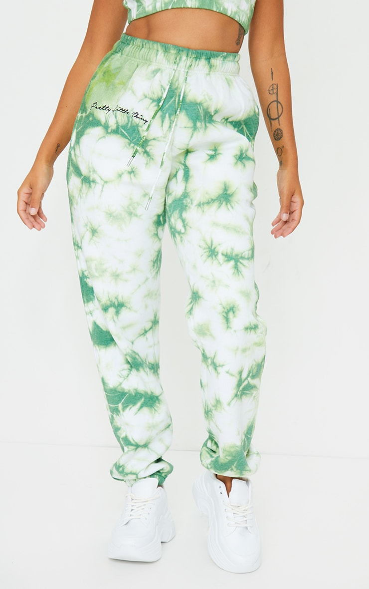 PRETTYLITTLETHING Petite Mint Tie Dye Embroidered Oversized Joggers 2