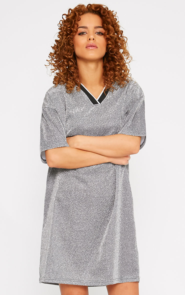 Luyu Silver Glitter Sporty Shift Dress 4