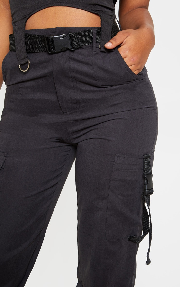 Black Buckle Detail Belted Cargo Trouser 5
