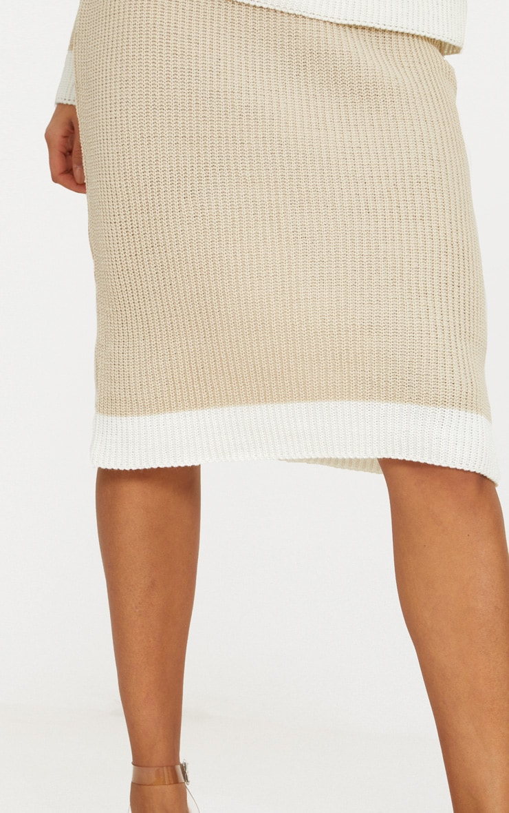 Stone Contrast Knitted Midi Skirt 4