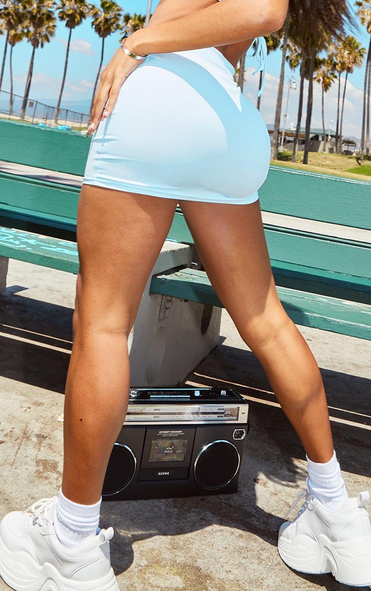 Shape Baby Blue Rib Bodycon Skirt 3