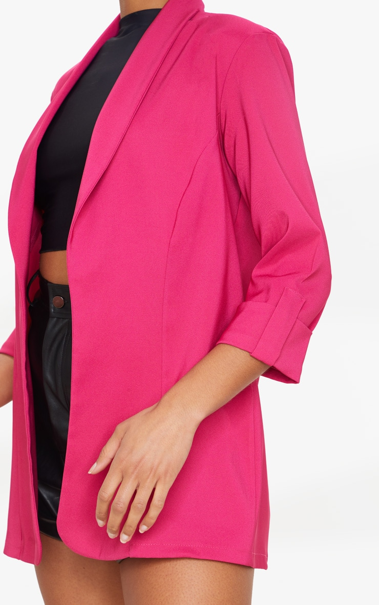 Pink Woven Turn Up Sleeve Blazer 4