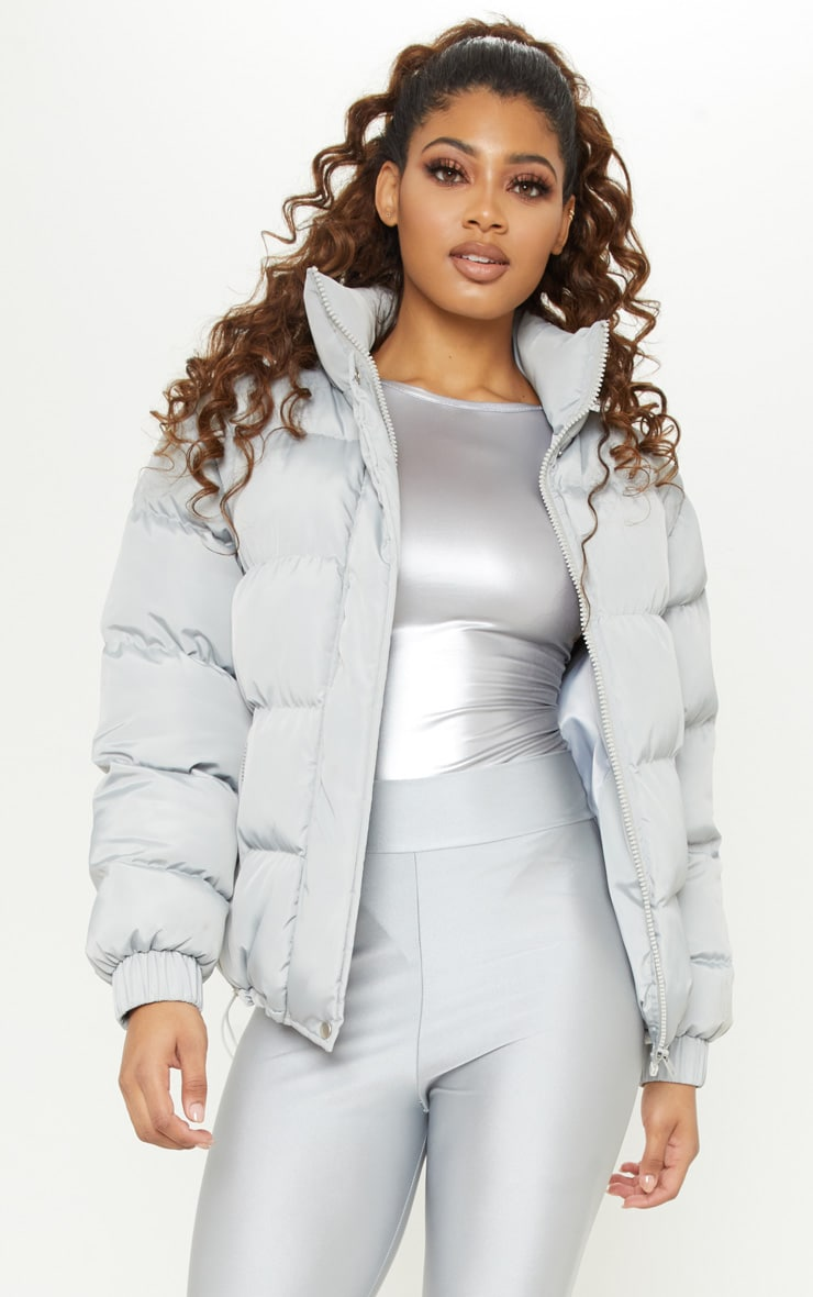 Tall Grey Shell Puffer Jacket 1