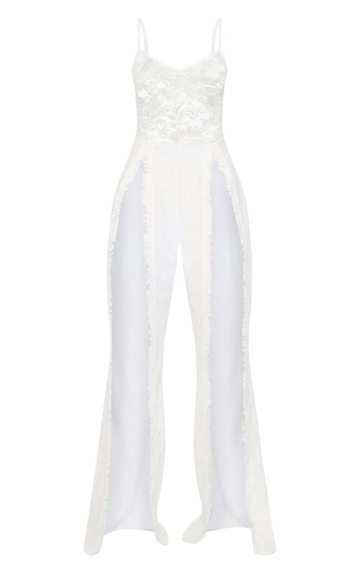 White Lace Top Extreme Split Leg Jumpsuit 3