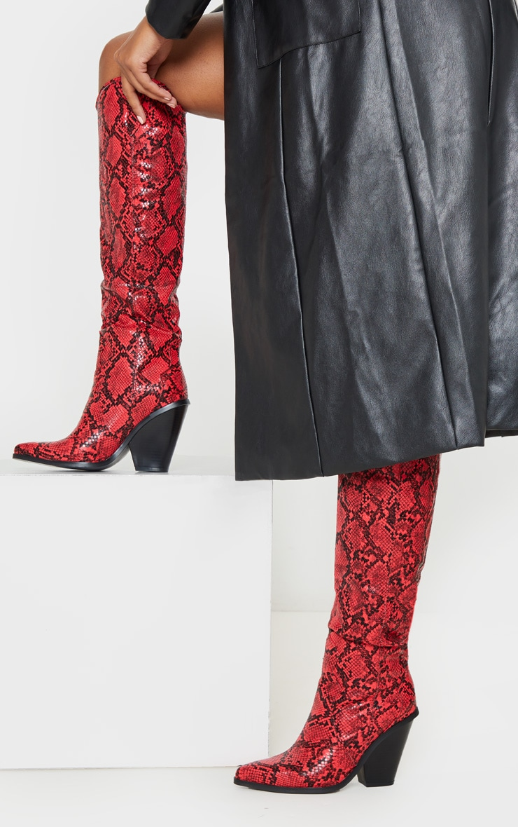 Red Snake Heeled Knee High Western Boot 2