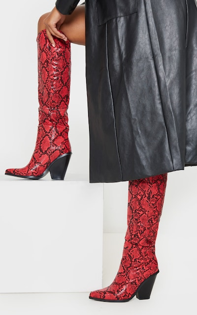 Red Snake Heeled Knee High Western Boot