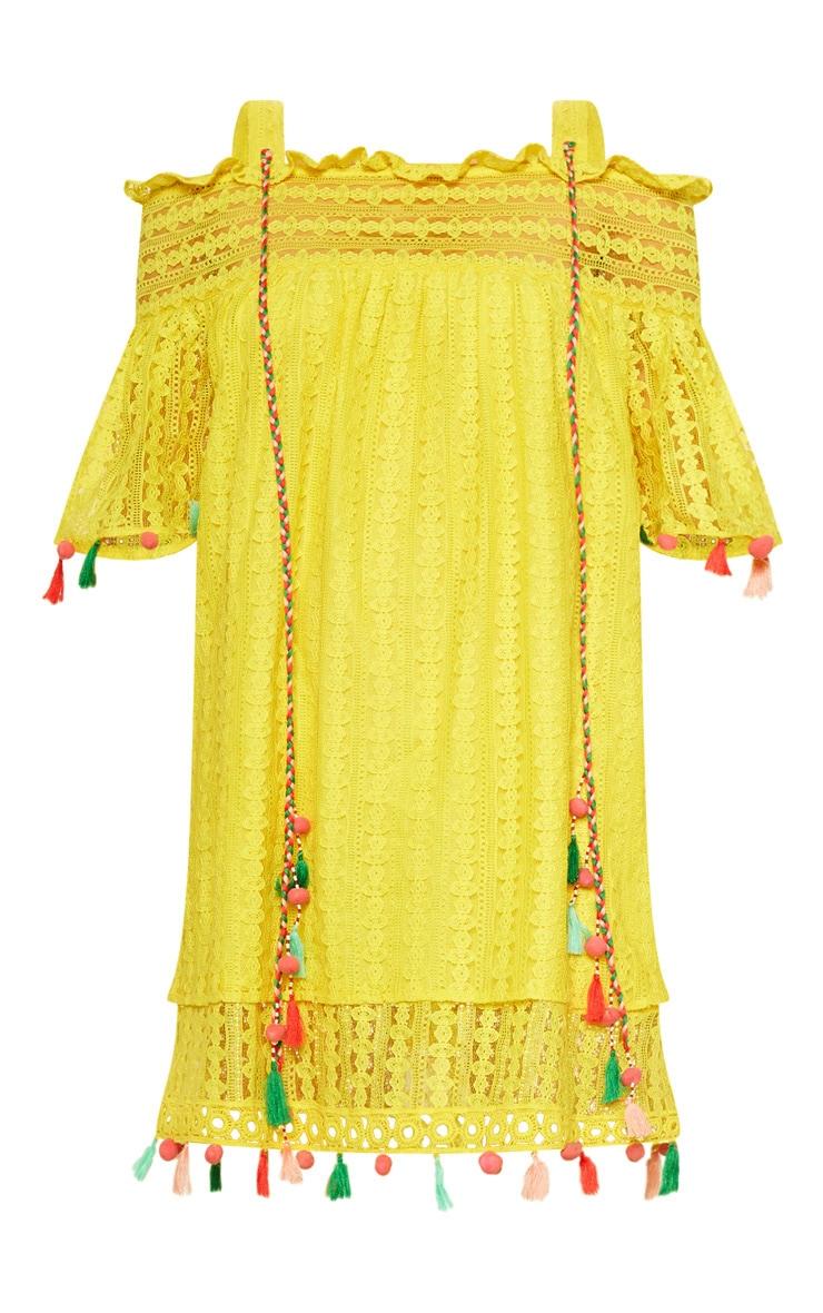 Robe blouse jaune vif en crochet à bretelles avec manches à pompons  3
