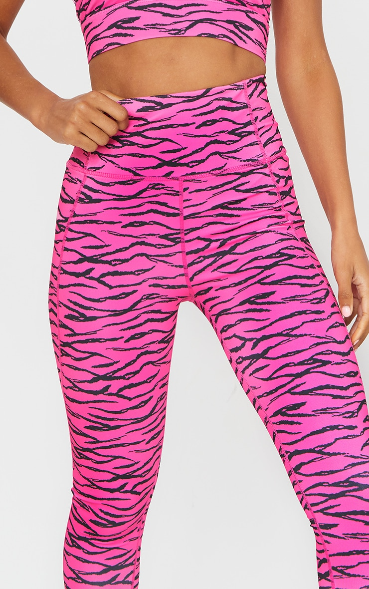 Pink Zebra Printed Cropped Gym Legging 4